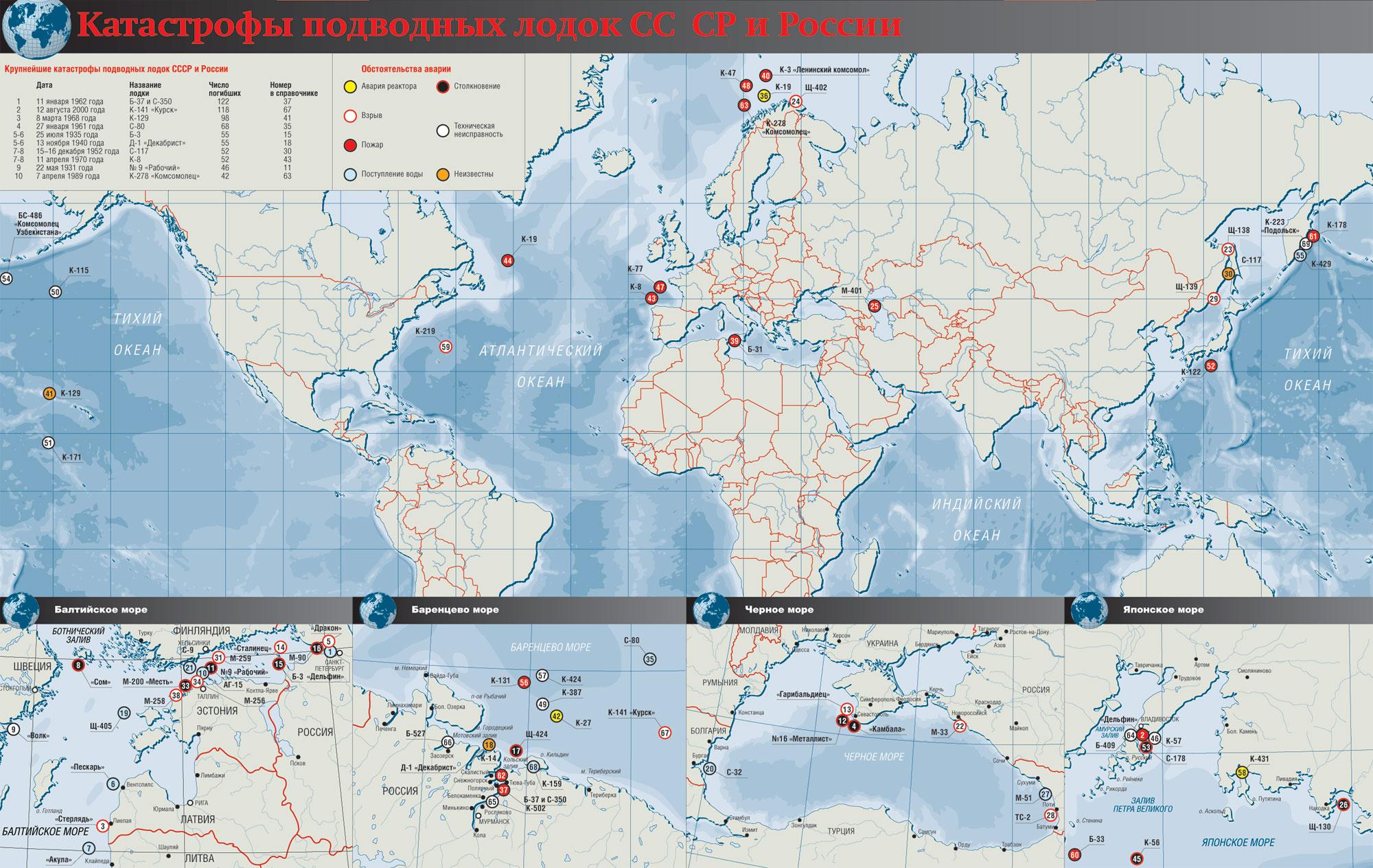 все катастрофы подводных лодок