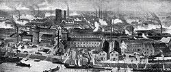 Завод BASF стал образцовой иллюстрацией немецкого экономического чуда. Из заурядного производства в 1870 году (вверху) он превратился в химический гигант одиннадцать лет спустя (внизу)